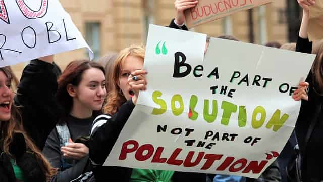 School children Striking for climate change